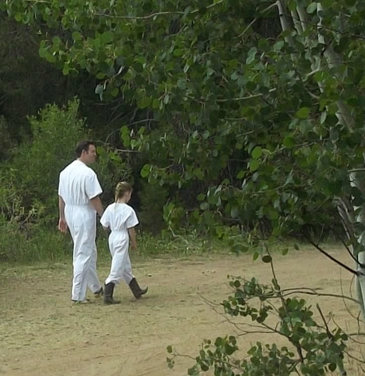Walking to the River to Baptize my Angel in White (photo by cousin Carli Christensen)