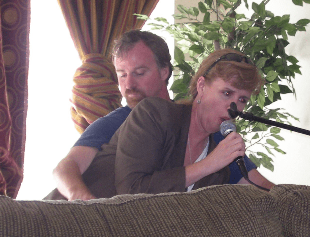 Carla and her brother, Paul, the way I remember them - hamming it up at the piano