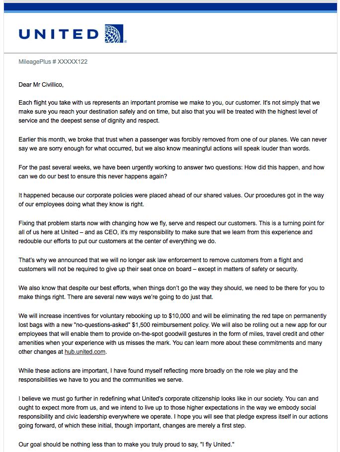 United Airlines Apology Letter Jason Hewlett